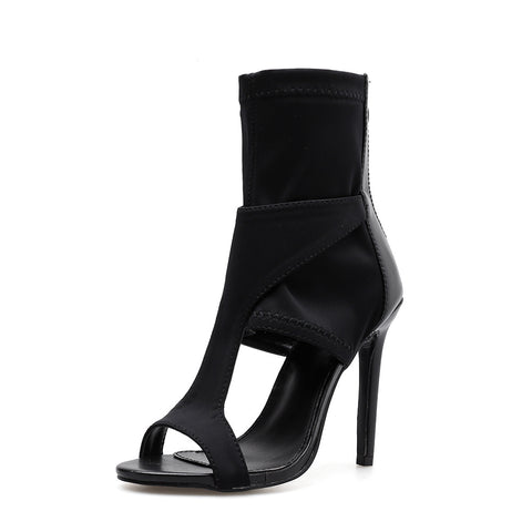Women's shoes sandals thin heel summer elasticity zipper open toe sexy stiletto high heels woman ladies sandals female black