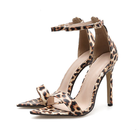Women's shoes pointed open toe stilettos high heels sandals women leopard heeled sandal sexy heels party ladies summer shoe 2019