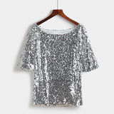 Sequins Gold Silver Glitter Top 2020 Spring Summer Women Sexy Short T Shirt Shiny Plus Size Evening Party Elegant Club Party