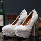 Wedding Lace Plears Pumps Shoes and Rhinestone Handmade High Heel