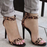Sandals Women High Heel Leopard Print Thin High Heels Ankle Strap Summer Shoes Woman Ladies Dress Party Pumps black