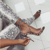 2019 Sandals Fashion Serpentine Women Sandals High Heels Open toe Ankle Strap Buckle Strap Shoes Size 35-40 Pumps