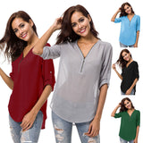 Women's zipper V-neck casual solid color chiffon shirt