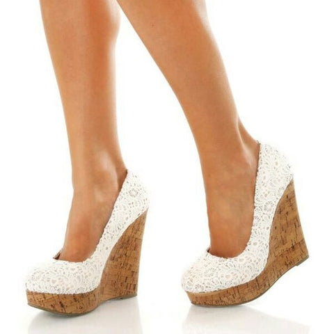 azmodo Lace Wedge Heels