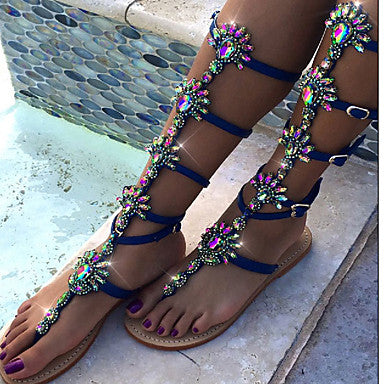 AZMODO PU Wedding Party & Evening Dress Flat Heel Rhinestone Flower Shining Thong Flat Sandals Blue A 90-1