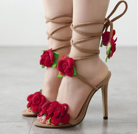 Sandals Red Roses Cross Lace High-Heeled Female Shoes