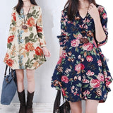 Spring large size women's V-neck loose cotton long-sleeved long temperament dress