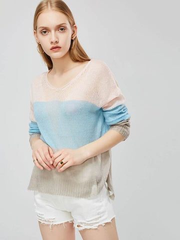 Color Block Round Neck Lightweight Women's Sweater