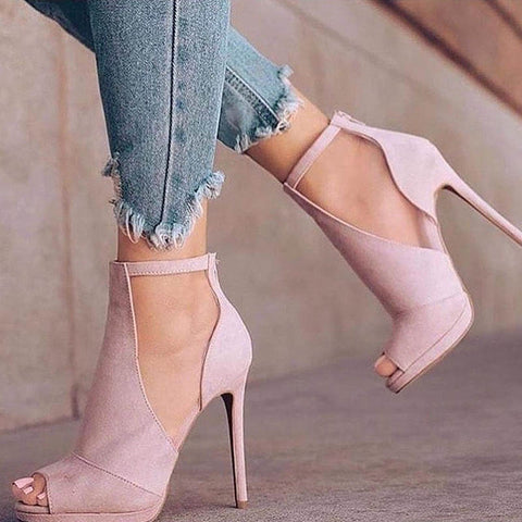 Pink Casual Plain Peep Toe Stiletto Heel Pumps