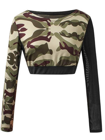 Camo Scoop Neck Mesh Patchwork Women's Cropped T-Shirt