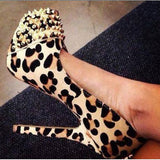 Sexy Leopard Suede Round Toe Rivets Decoration High Heel Shoes