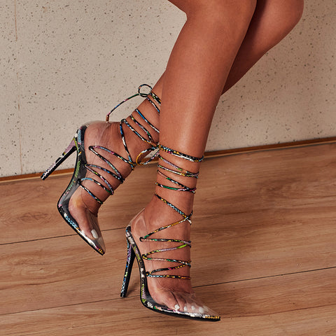New summer feminine fashion sandals straps high heels snake pattern stiletto heels summer feminine fashion transparent sandals plus size