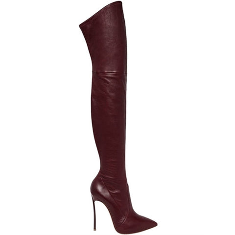 azmodo Pointed Toe Fashion Knee High Boots