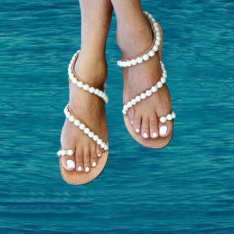 AZMODO Exquisite Pearls Beading Flat Sandals X806