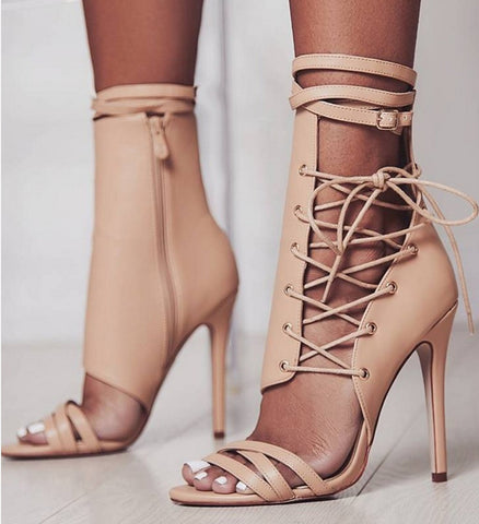 778dbe4c670 Roman Buckle strap Shoes Women Sandals Sexy Gladiator Lace up Peep Toe  Sandals High Heels Woman Ankle Boots