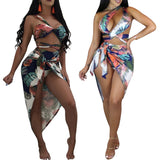 Leaf Print High Waist Belt Bikini Set Scarf Split swimsuit Three-piece Female