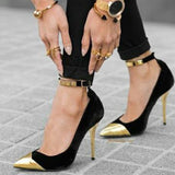 azmodo Gold Cap Toe Ankle Wrap Stiletto Heel