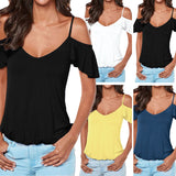 New Tops Strapless Cross Halter Fly-Sleeved T-Shirt