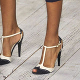azmodo  Black and White Two Tone Patchwork T Strap Stiletto Heels