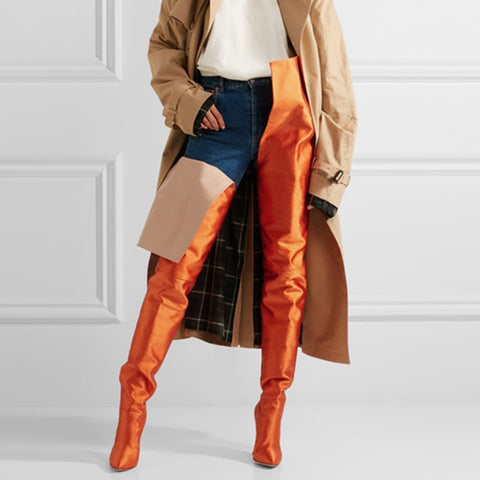azmodo Orange Stiletto Heel Stylish Thigh High Boots