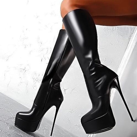 New Arrival Women Platform Mid-calf Boots Thin High Heels Black  Ladies Round Toe Nice Party Shoes