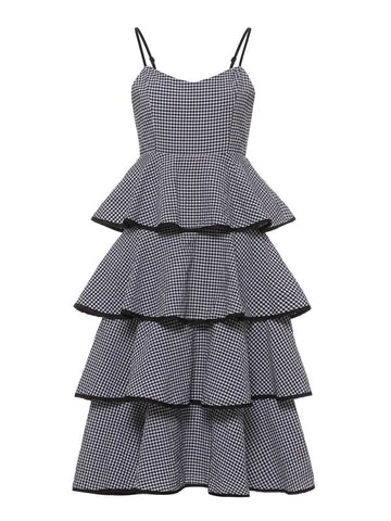 azmodo Black Plaid Strappy Women's Tiered Dress