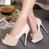 azmodo Light Apricot Peep Toe Platform Slip-On Stiletto High Heels