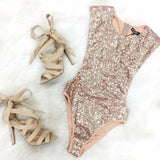 Sequin Triangle Jumpsuit Gold Sequins Sleeveless Swimsuit One Piece Swimsuit