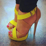 High Stiletto Heel Platform Color Block Sandals