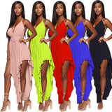 Azmodo beach dresses and tunic vestidos de veran neon women long dress spaghetti strap irregular split maxi club sexy dresses