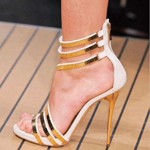 azmodo Gorgeous Contrast Color Straps Dress Sandals