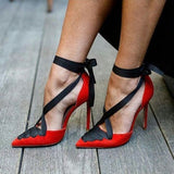 Women Red Lace-Up Pointed Toe Ankle Wrap Stiletto Heels