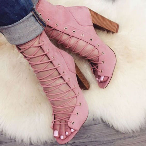 Sweet Womens Thick Chunky High Heel Lace Up Ankle Sandal Boot Bootie X91-1