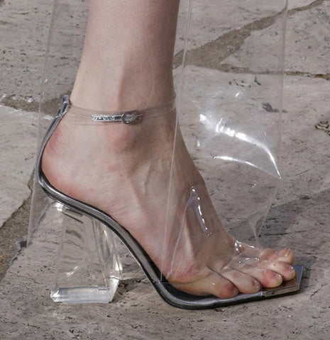 summer new European and American transparent crystal with sandals sexy exposed toe thick with high-heeled shoes