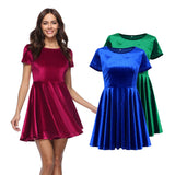 Women's Fashion Dresses Gold Velvet Round Neck Short Sleeve Dress