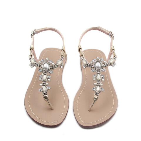 Flat Sandals with Rhinestones for Women Flip Flop Wedding Gladiator Shoes Gold Color Y14