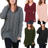 Spring and Autumn Ladies V-Neck Long Sleeve Turtleneck Knit Sweater