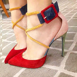 azmodo Cute Pointed Toe Buckle Suede Stiletto Heels
