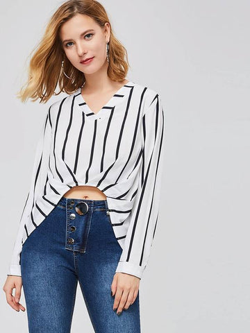 OL Pleated Stripe V-Neck Women's Blouse