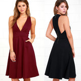 Women's Dress V Sleeveless Waist Double Pocket Swing Skirt