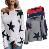 Women's New Products Street Style Long Sleeves Star Print T-Shirt Women