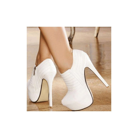 azmodo  Elegant White Closed-Toe Platform Ankle Boots