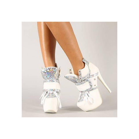 azmodo  Coo White Glossy Patchwork Platform Awesome Booties