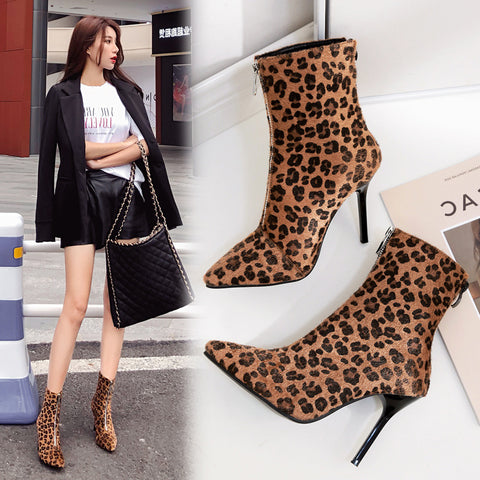 Women winter boots women print Pattern Toe Zip Thin Heel Thick Pointed Booties Shoes Boots