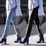 Hot Fashion Ladies Cotton Pants with tassels Stretch Women pencil leggings  Skinny Jeans Cowboy
