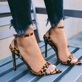 INS hot sexy Women's shoes sandals pointy open toe stiletto high heels woman shoes leopard gladiator heels stripper women shoes