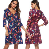 Women's Fashion V-Neck Sleeve Print Dress