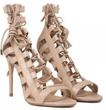 Hollow Roman strappy high-heeled women's shoes