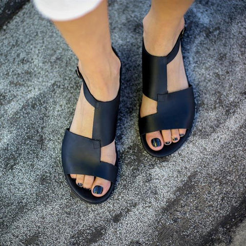 AZMODO Black Trendy Open Toe Flat With Buckle Sandals