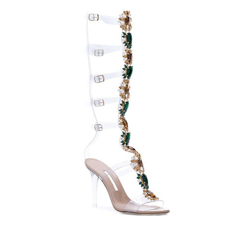4745f846ccd7 ... Women Knee High Gladiator Stiletto Heel Strappy Buckle Crystal  Rhinestones Sexy Dress Sandals ...